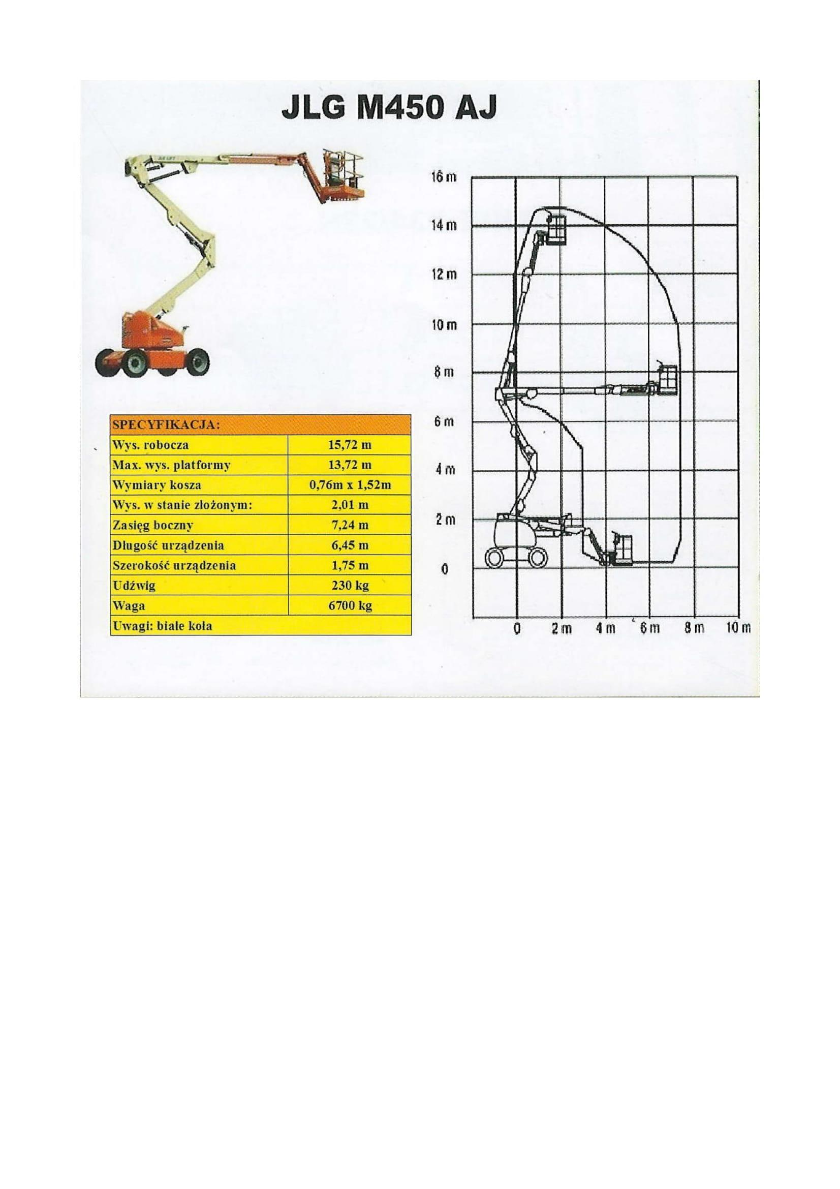 JLG M450 AJ specyfikacja